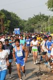 Girls and Boys participate in bangalore marathon Stock Photo