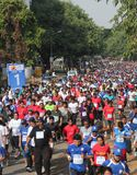 Girls and Boys participate in bangalore marathon Stock Photos