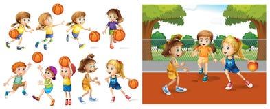 Girls and boys playing basketball Royalty Free Stock Photography
