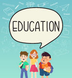 Girls and boys pupils with education on speakbubble. Royalty Free Stock Photos