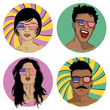 Girls and boys in sunglasses with USA flag Royalty Free Stock Photos