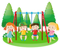 Girls and boys on swing Stock Image