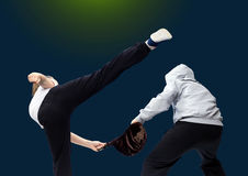 Girls and boys are trained self-defense techniques Royalty Free Stock Images