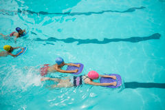 Girls and boys using kickboard while swimming in pool Royalty Free Stock Photography