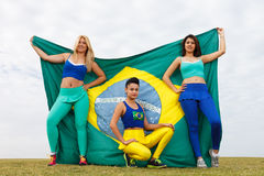 Girls with brazil flag Stock Photos