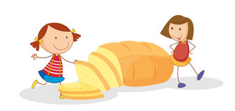 Girls and bread. Illustration of girls and bread on a white background stock illustration