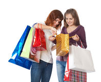 Girls with bright bags Stock Photography