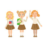 Girls In Brown Skirts Happy Schoolkids In Similar Collection School Uniforms Standing And Smiling Cartoon Character Stock Images
