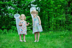 Girls with butterfly net Stock Photos