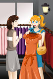 Girls buying dress. A vector illustration of young girl buying dress at store Stock Photography