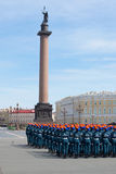 Girls cadets of Academy of the Ministry of emergency situations in formation on the Palace square. Rehearsal of parade in honor of Royalty Free Stock Photo