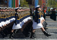 Girls-cadets of the Military Academy of communications named. Budyonny Military-space Academy. Mozhaysky on the General parade reh Stock Photo