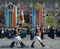 Girls-cadets of the Military Academy of communications named. Budyonny Military-space Academy. Mozhaysky on the General parade reh Royalty Free Stock Photography