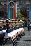Girls-cadets of the Military Academy of communications named. Budyonny Military-space Academy. Mozhaysky on the General parade reh Stock Photos