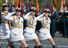 Girls-cadets of the Military University and Volsky military Institute of material support named after A. Khrulyov on rehearsal of Royalty Free Stock Images