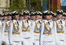 Girls-cadets of the Military University and Volsky military Institute of material support named after A. Khrulyov on rehearsal of Stock Image
