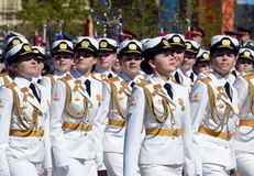 Girls-cadets of the Military University and Volsky military Institute of material support named after A. Khrulyov on rehearsal of Stock Images