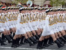 Girls-cadets of the Military University and Volsky military Institute of material support named after A. Khrulyov during the Victo Royalty Free Stock Images