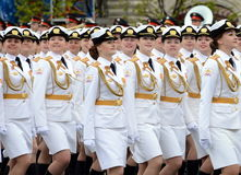 Girls-cadets of the Military University and Volsky military Institute of material support named after A. Khrulyov during the Victo Royalty Free Stock Photos