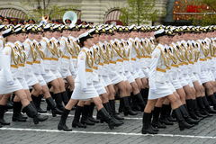 Girls-cadets of the Military University and Volsky military Institute of material support named after A. Khrulyov during the Victo Stock Images