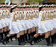 Girls-cadets of the Military University and Volsky military Institute of material support named after A. Khrulyov during the Victo Royalty Free Stock Photo