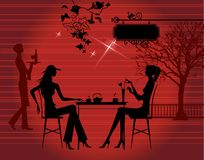 Girls in the cafe royalty free illustration