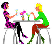 Girls in the cafe. Two best friends in the cafe Royalty Free Stock Photography