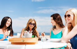 Girls in cafe on the beach Royalty Free Stock Photo