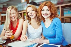 Girls in cafe Royalty Free Stock Photos