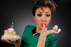Girls with cake Royalty Free Stock Photography