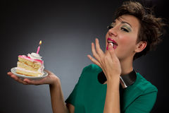 Girls with cake Stock Images