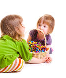 Girls with candies Royalty Free Stock Photography