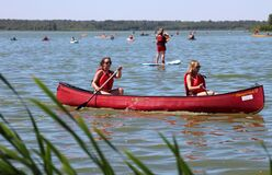 Girls in canoe Stock Image