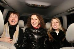 Girls in car. Happy smile girls in car Stock Photos