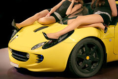 Girls on car royalty free stock photography