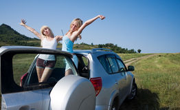 Girls in car Royalty Free Stock Image