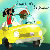 Girls in the car. Cute girls in the car Royalty Free Stock Photo