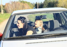 Girls in car Royalty Free Stock Photography