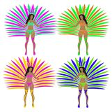 Girls in carnival costumes. Brazilian samba dancers. Rio de Janeiro women dancing. Isolated on white background. Vector Stock Images