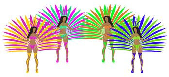 Girls in carnival costumes. Brazilian samba dancers. Rio de Janeiro women dancing. Isolated on white background. Vector Stock Photos