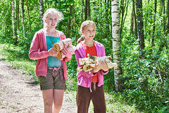 Girls carry firewood from forest Royalty Free Stock Photo