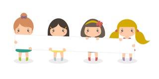 Girls Carrying Long Board vector illustration