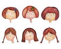 Girls cartoon characters. avatars. Artwork, ink and watercolors on paper Stock Photography