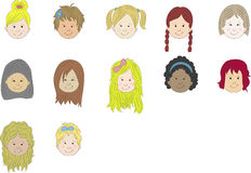 Girls cartoon faces Royalty Free Stock Images