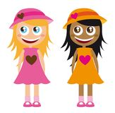 Girls cartoons Stock Photography