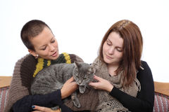 Girls and cat. Two young women and gray domestic cat at sofa royalty free stock photo