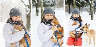 Girls and a cat Stock Photos