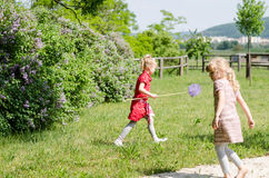 Girls catching butterflies royalty free stock images