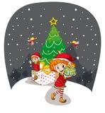 Girls celebrating christmas Royalty Free Stock Images