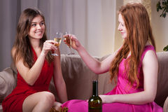 Girls celebrating an occasion Royalty Free Stock Image